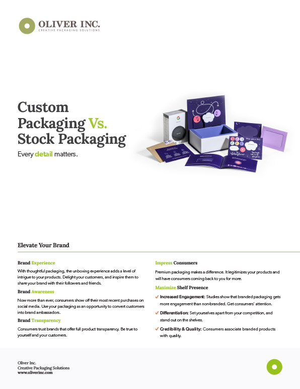 Custom vs Stock Packaging Sell Sheet