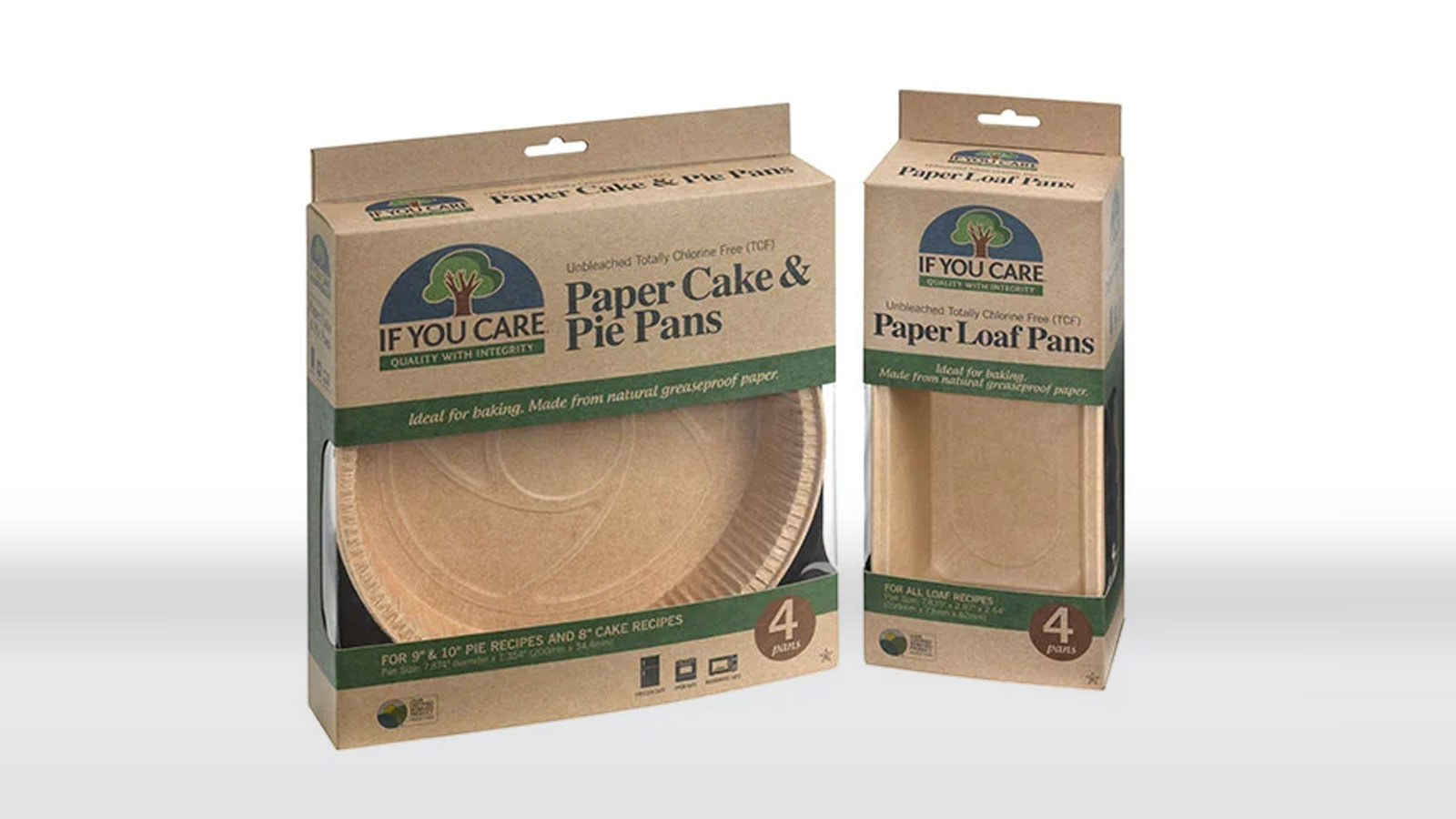 Paper baking products in packaged boxes
